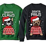 Santa Paws and Santa Claws Ugly Christmas Sweaters