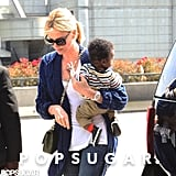 Charlize Theron traveled from the airport in LA with son Jackson.