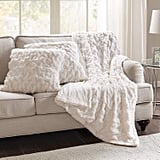 Comfort Spaces Ruched Faux Fur Plush 3 Piece Throw Blanket Set