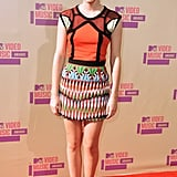Emma Watson hit the red carpet at the MTV VMAs in a multicolored Peter Pilotto mini in September.