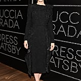 The leading lady went monochromatic in an elegant ruffle-and-lace coat dress by Prada and satin Brian Atwood platforms during the Prada Dress Gatsby fete in NYC.