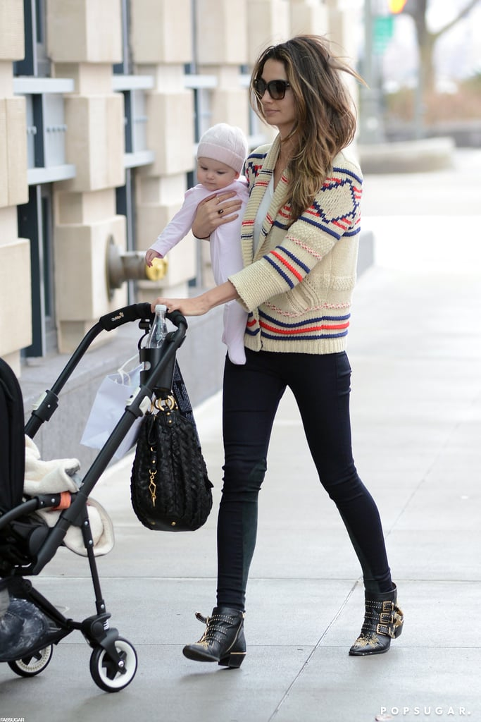 Lily Aldridge's black Chloé studded boots added an edgy touch to her preppy Isabel Marant cardigan in NYC.