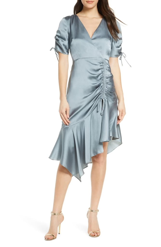 Ever New Drawstring Ruched Satin Dress