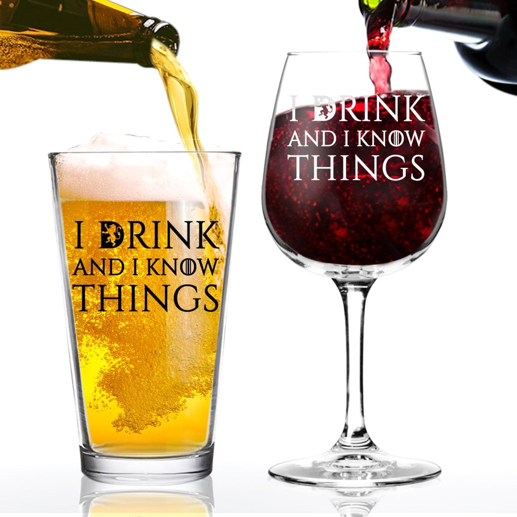 I Drink And I Know Things Beer and Wine Glass Set