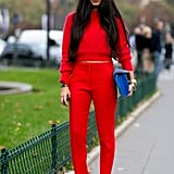 Not for the wallflowers, this showgoer did head-to-toe red.