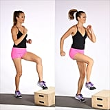 Box step: Find a step, stool, or box (or aim toes at an imaginary step) and lightly tap your left toes to the box, then jump to switch feet, bringing the right toes up (above).  Don't stop at just 2.5 minutes, though. Besides upping your total calorie burn, longer exercise helps you stay healthy and prevent disease. Aim for at least 150 minutes a week; here are five ways to make sure you hit that number.
