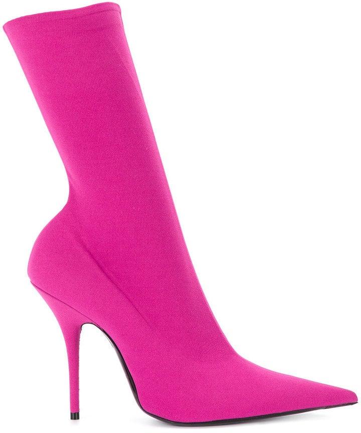 Balenciaga Pink Velvet Stiletto Knife Boots