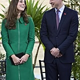 They exchanged sweet smiles in Hamilton, New Zealand, where they visited the National Cycling Center of Excellence during the royal tour.