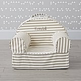 Small Personalized Gray Stripe Nod Chair