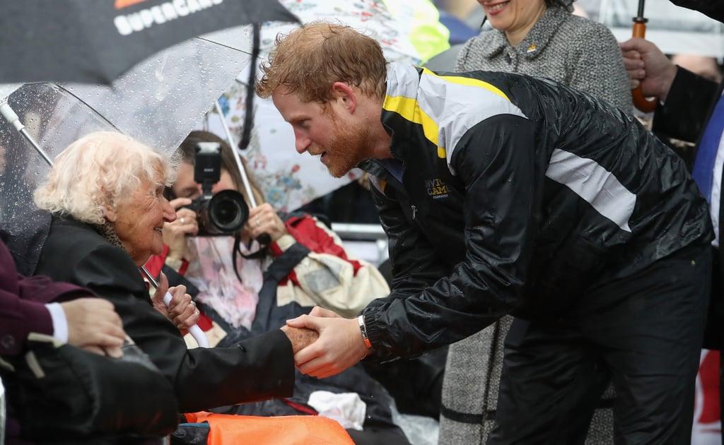 Prince Harry Hugging Elderly Lady in Sydney June 2017