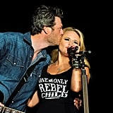 """February 2012: The country couple took their duets to the next level by performing """"America the Beautiful"""" at Super Bowl XLVI together. Their harmonies were amazing and made country fans everywhere swoon.  April 2013: Rumors that the couple were having issues began to surface, but the """"Highway Vagabond"""" singer shut them down. """"Divorce is not an option,"""" Miranda told reporters backstage, via Rolling Stone, at the ACM Awards that year.  April 2014: Miranda talked to People about the couple's normal relationship, saying, """"we live in the middle of nowhere and have a totally different life away from work."""" She revealed that even though they have glamorous careers as a couple, """"We do things we sing about in our songs — go four-wheeling, we back-road, we fish, we eat at my mother-in-law's at least twice a week.""""  October 2014: Rumors were still flying that the couple's relationship was in trouble, so Blake took to Twitter to voice his annoyances with the chatter. """"Maybe because the divorce rate is so high the tabloids have just decided to play the odds with me and Miranda. Morons . . . #eatad*ck,"""" he wrote at the time."""
