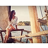 Shay Mitchell didn't hide her chic boating style when she sailed into the sunset on vacation in Kilifi, Kenya. Source: Instagram user shaym