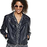 POPSUGAR at Kohl's Crop Faux-Leather Moto Jacket