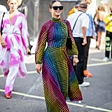 Styling a colorful dress with a simple black pair.
