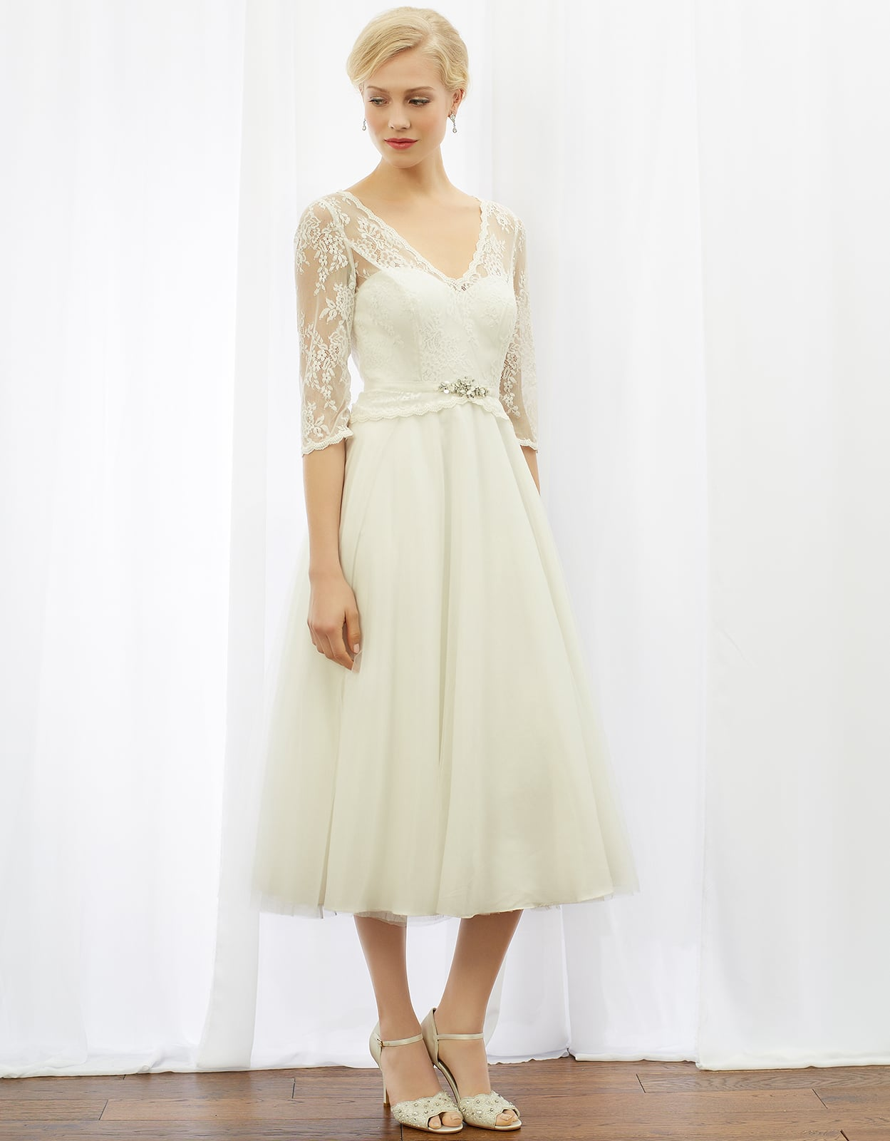 Monsoon coralie tea length wedding dress 299 the 50 for Monsoon wedding dresses uk