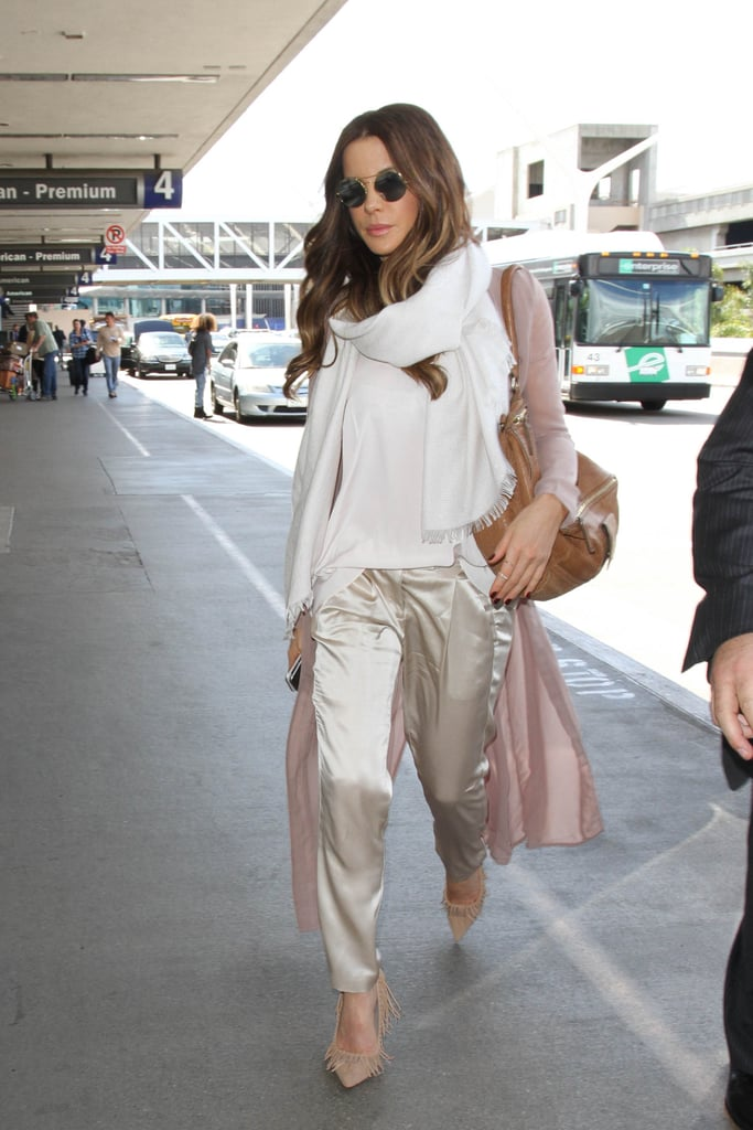 Skip those cotton joggers for something satin, just like Kate Beckinsale did.
