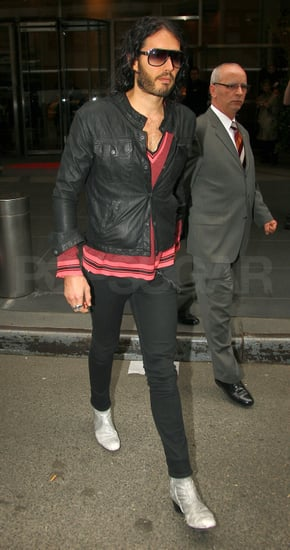 Pictures of Russell Brand Promoting Get Him to The Greek in NYC