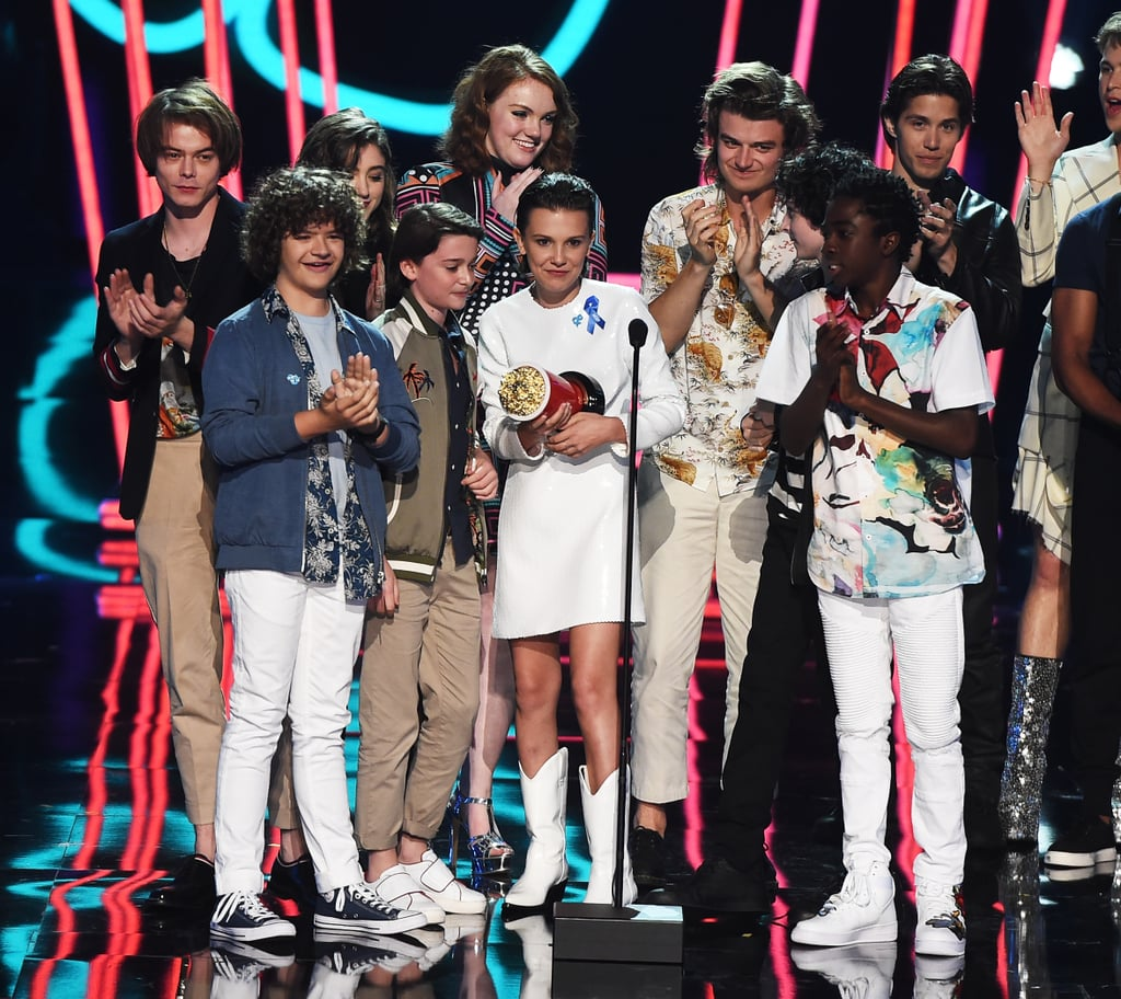 stranger things cast speech at 2017 mtv movie and tv awards popsugar entertainment photo 1. Black Bedroom Furniture Sets. Home Design Ideas