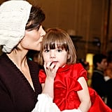 Katie planted a smooch on her daughter's head at the NYC ballet's performance of The Nutcracker in December 2008.      Related:                                                                                                           28 Celebrity Moms Who Are Nearly Identical to Their Kids