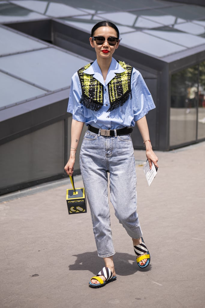 Try Funky Printed Slide Sandals With Cropped, High-Waisted Denim