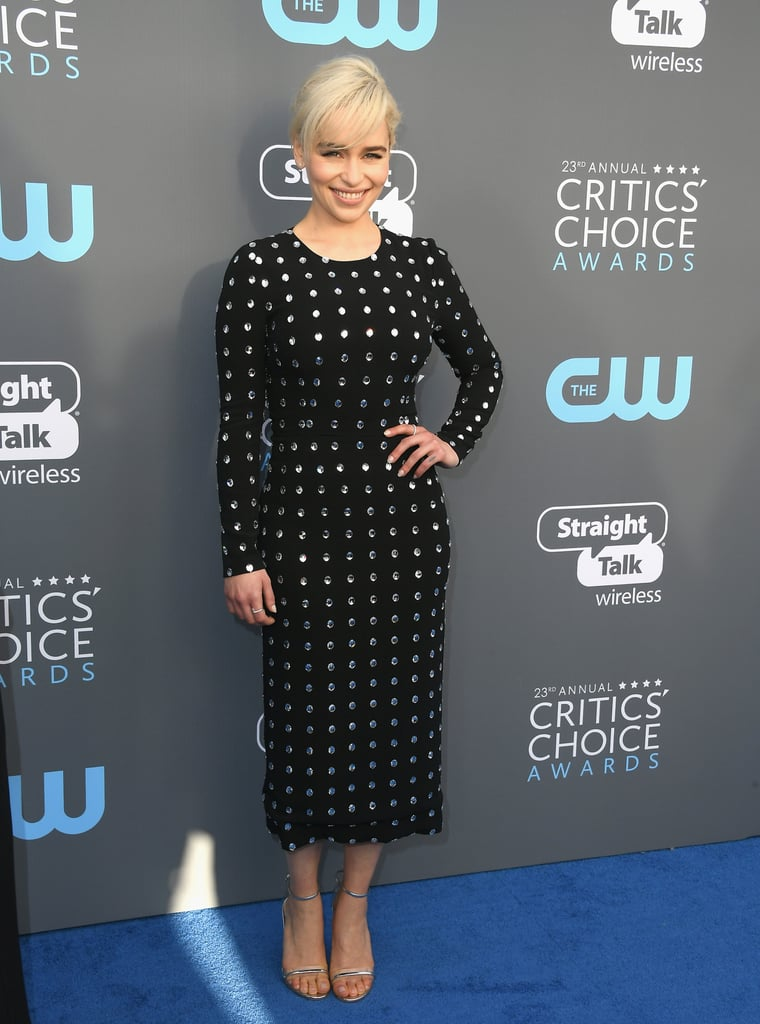 Emilia Clarke is on a roll! After hitting up the Golden Globes over the weekend, Emilia attended the Critics' Choice Awards in Santa Monica, CA, on Thursday. Sadly, the Mother of Dragons wasn't accompanied by Jon Snow — er, Kit Harington — this time around, but she did link up with Reese Witherspoon on the red carpet. Clad in matching polka-dot dresses, the two happily posed for pictures together before heading inside.   Both Emilia and Reese were up for awards; Emilia was nominated for best supporting actress in a drama series for Game of Thrones, while Reese scored a nod for best actress in a movie made for TV or limited series for Big Little Lies.