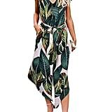 Belongsci Leaf Print Jumpsuit
