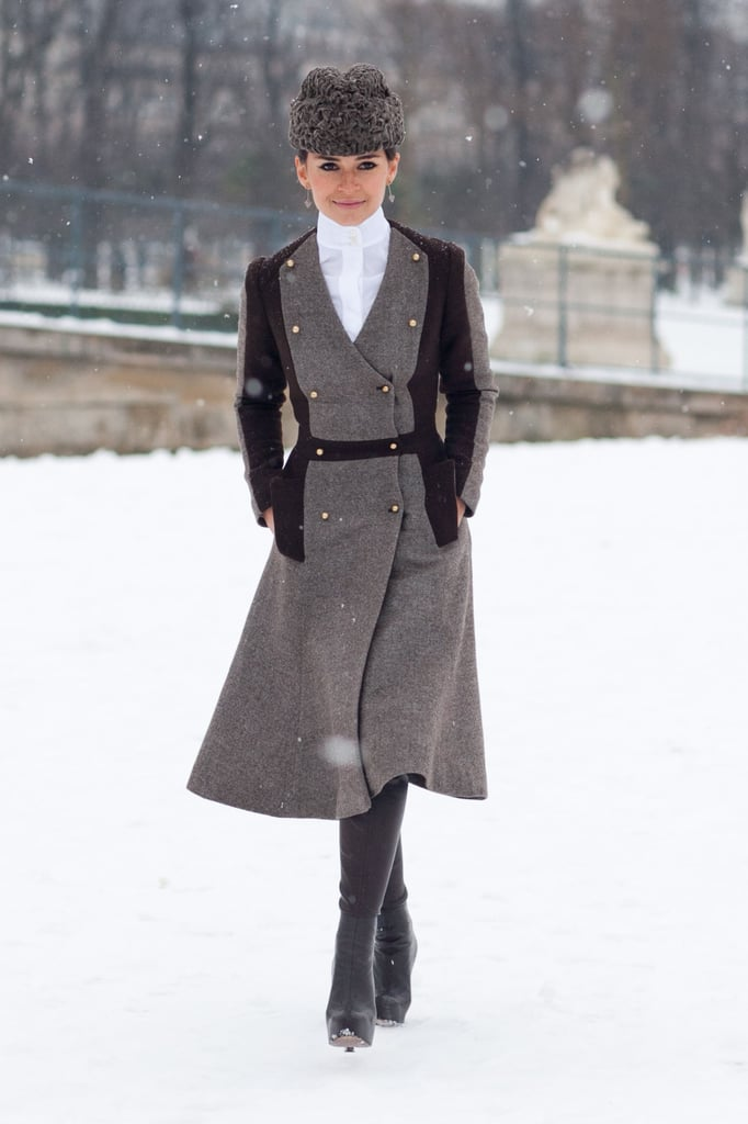 Miroslava Duma channeled Doctor Zhivago in a military coat and fur cossack.  Source: Adam Katz Sinding