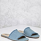 Forever 21 Frayed Denim Slide Sandals