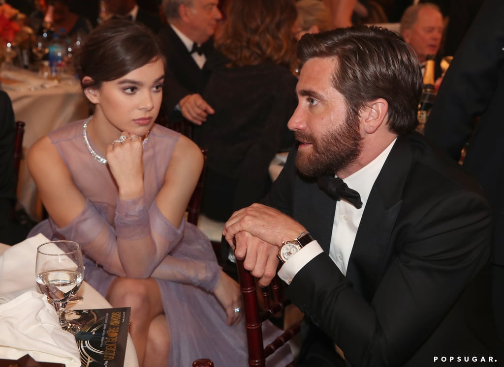Hailee Steinfeld looked either very mesmerised or very bored by Jake Gyllenhaal.