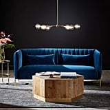 Rivet Frederick Velvet Channel Tufted Midcentury Modern Sofa
