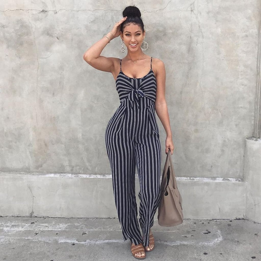 5ac0bdd7c4b9 89Look Strappy Striped Playsuit