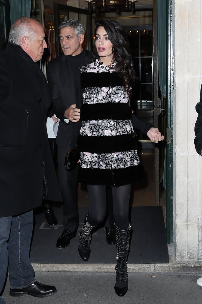 Amal stepped out for dinner with George in Paris, wearing this Giambattista Valli vest as a dress and accessorizing with knee-high buckled pumps.