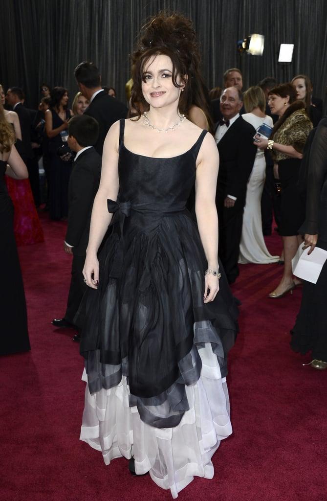 Helena Bonham Carter on the red carpet at the Oscars 2013.