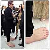 My, what big feet you have! The Vampire Diaries star Nina Dobrev called Jim Carrey the best dressed of the night at Elton John's Oscars bash.  Source: Nina Dobrev on WhoSay