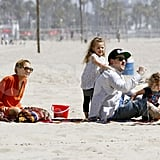 Nicole Richie and Joel Madden played with Sparrow and Harlow on the beach in Malibu.