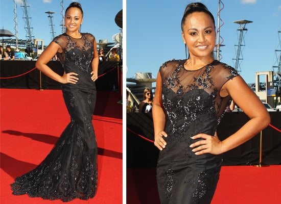 Pictures of Jessica Mauboy in Sexy Lace Daniela-Stephanie Dress on the red carpet at the 2011 ARIA Awards,