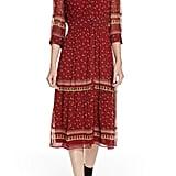 ba&sh Barie Ruffle Print Midi Dress