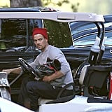 Josh Duhamel took a break on Christmas Eve 2012 to go golfing in Sherman Oaks, CA.