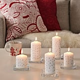 Vinterfest White Star Unscented Block Candles
