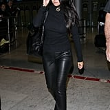 Styling Her Aviators With Leather Pants