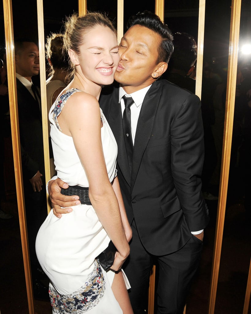 Candice Swanepoel, wearing Prabal Gurung, with the designer at the Swarovski afterparty in New York. Photo: Billy FarrellBFAnyc.com
