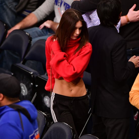 Emily Ratajkowski Red Turtleneck and Track Pants