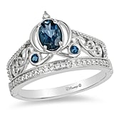 Cinderella Oval London Blue Topaz and Diamond Carriage Ring