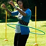 Her hula-hooping skills are impressive.