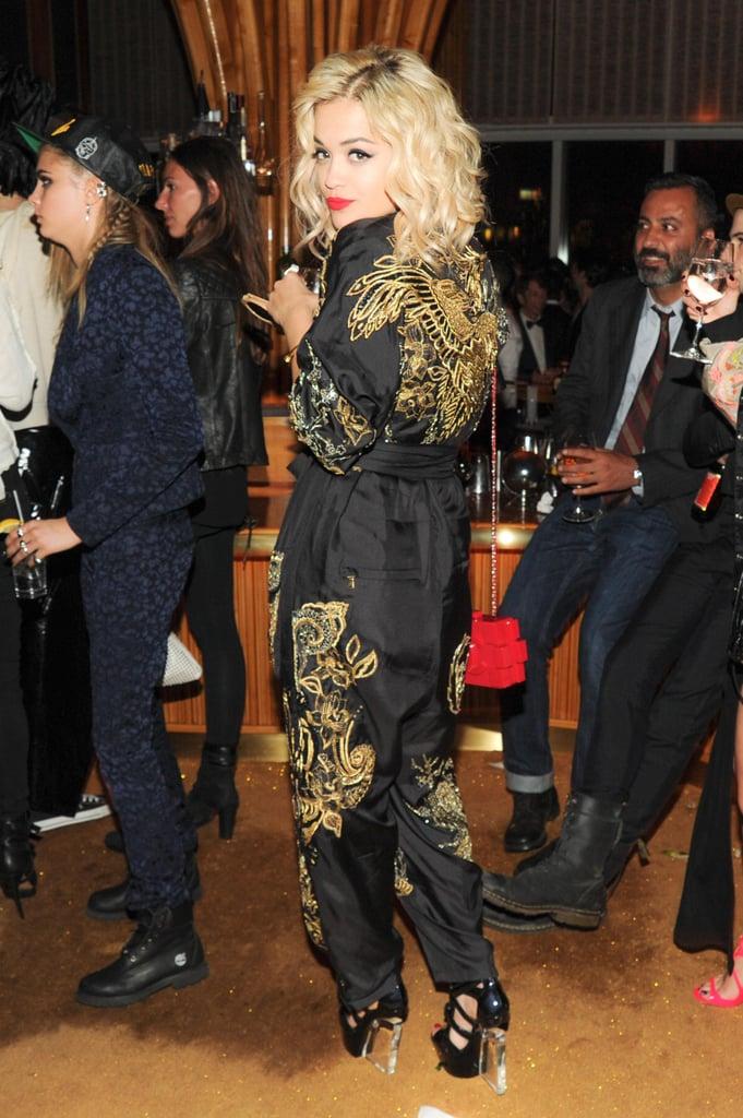 Rita Ora wore a jumpsuit. Source: Neil Rasmus/BFAnyc.com