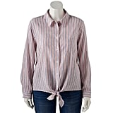 POPSUGAR Plus Size Tie-Front Button Up Shirt