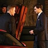 Max Martini filmed his first scene as Christian Grey's bodyguard with Dornan.