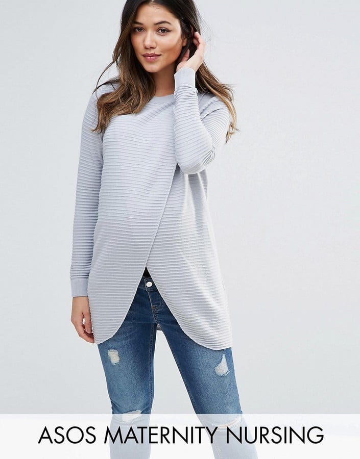 63eccfaa49b66 ASOS Wrap-Over Sweater in Textured Stripe   Maternity Clothes That ...