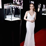 Jessica Chastain, who later slipped into a sleek white Givenchy gown, co-hosted the Cleopatra afterparty in Cannes with Bulgari and 20th Century Fox. The after-party marks the start of a limited-time display, where visitors can see some of Elizabeth Taylor's most beautiful jewels up close. In addition, Bulgari and 20th Century Fox are donating to the Elizabeth Taylor AIDS Foundation.