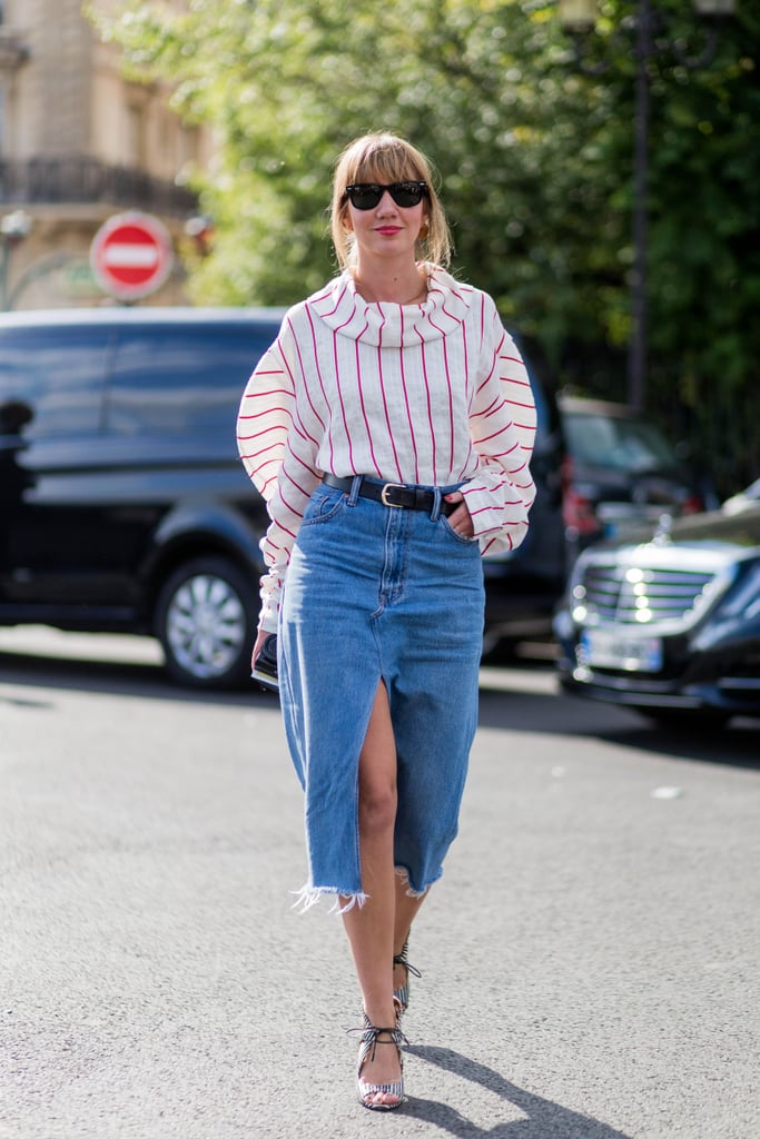 How to Style a Denim Skirt | POPSUGAR Fashion
